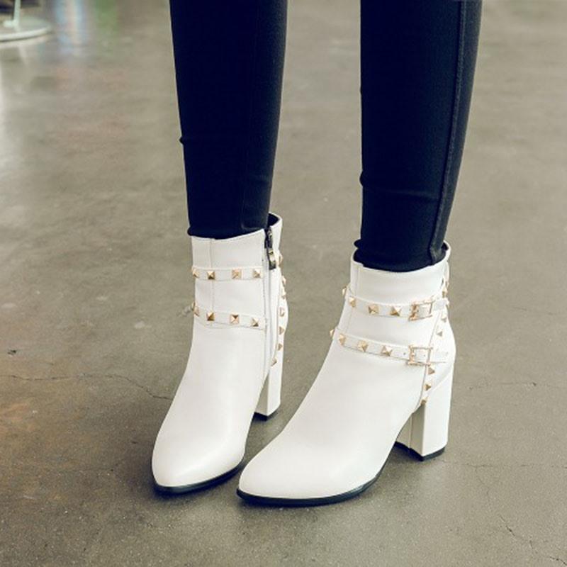 Ericdress Rivet Plain Side Zipper Chunky Heel Boots