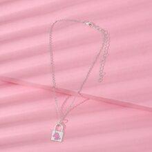 Toddler Girls Lock Charm Necklace