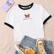 Camiseta ringer con estampado de mariposa y letra