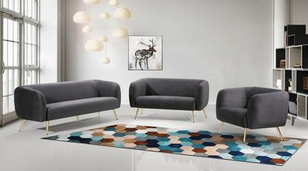 Harlow Collection 685GREYSLC 3- Piece Living Room Set with Sofa  Loveseat and Chair in