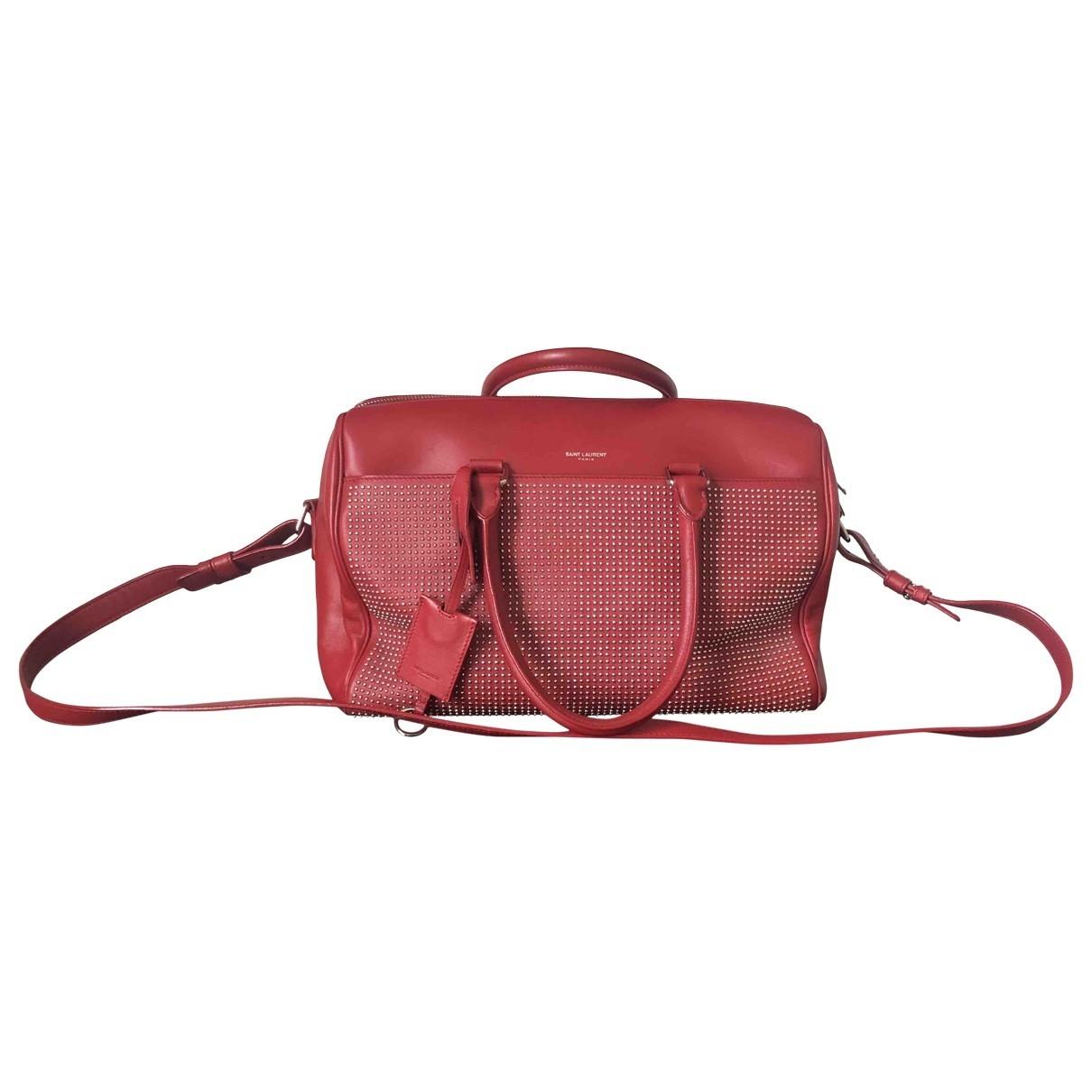 Saint Laurent Duffle Handtasche in  Rot Leder