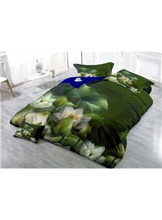 Blooming Emerald Lily Wear-resistant Breathable High Quality 60s Cotton 4-Piece 3D Bedding Sets