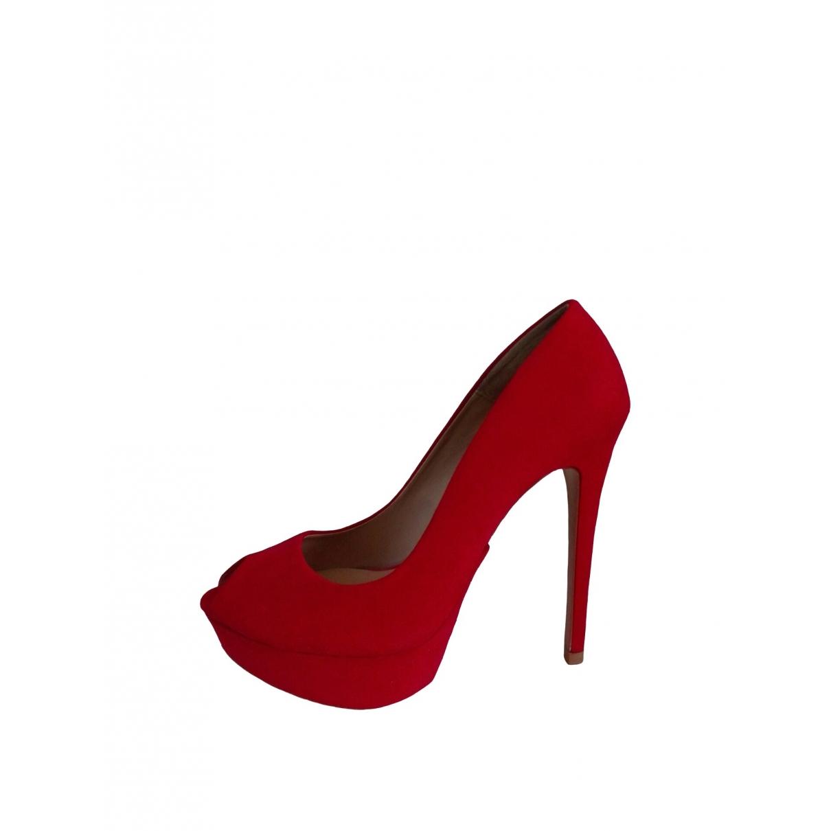Zara - Escarpins   pour femme en suede - rouge