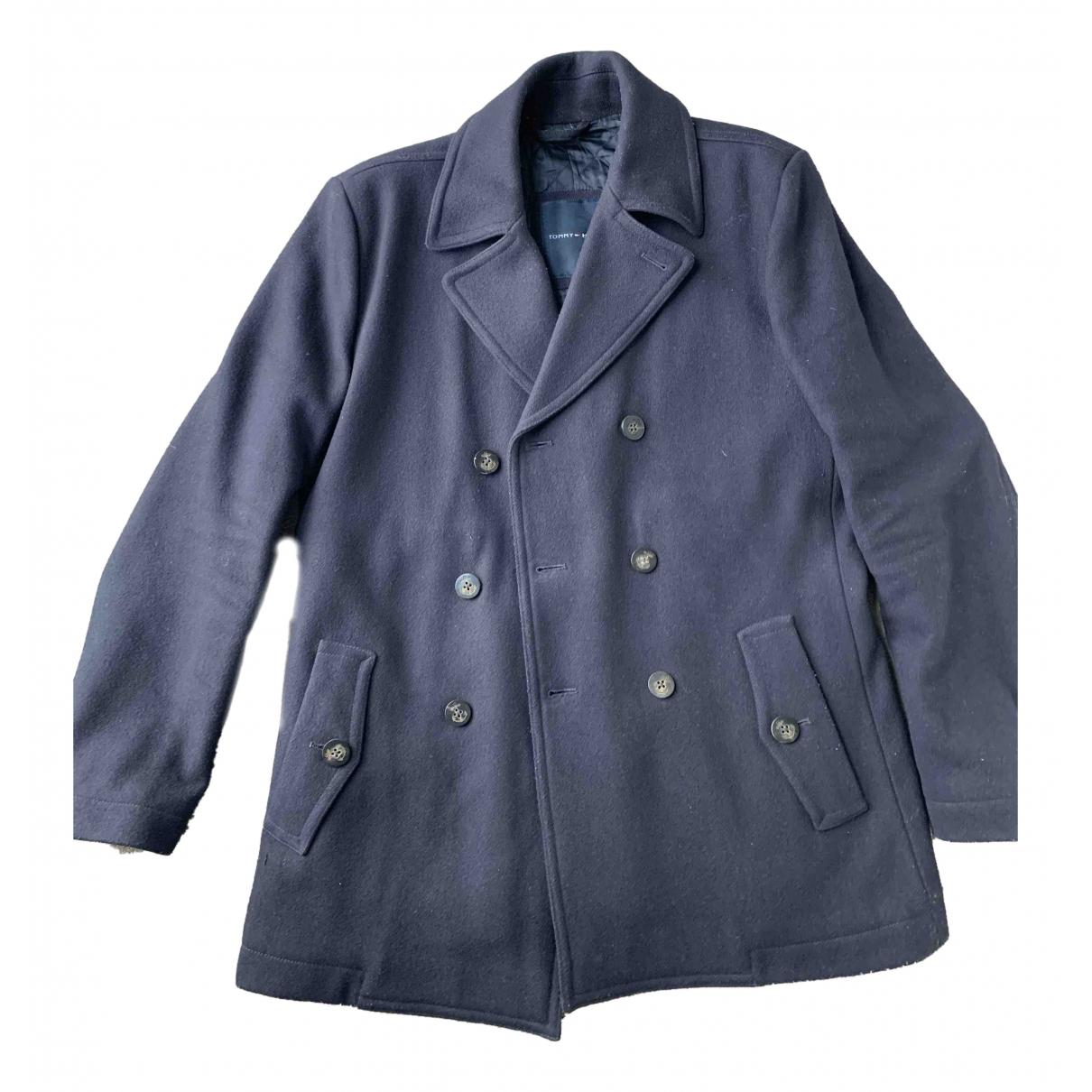 Tommy Hilfiger - Manteau   pour homme en laine - bleu