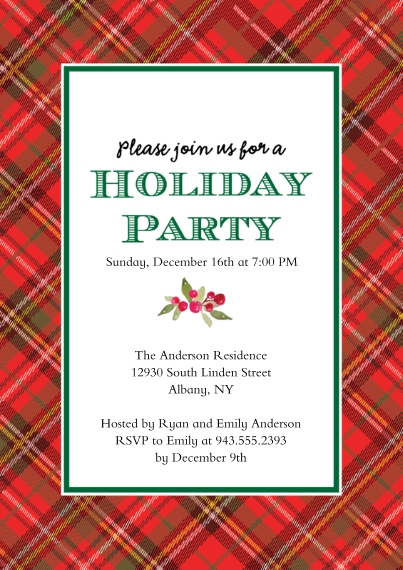 Christmas & Holiday Party Invitations 5x7 Cards, Premium Cardstock 120lb, Card & Stationery -Holiday Party Plaid