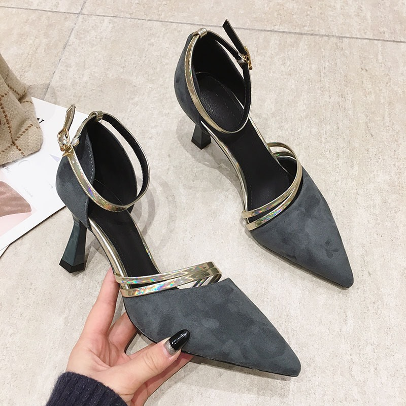 Ericdress Line-Style Buckle Buckle Pointed Toe Korean Pumps