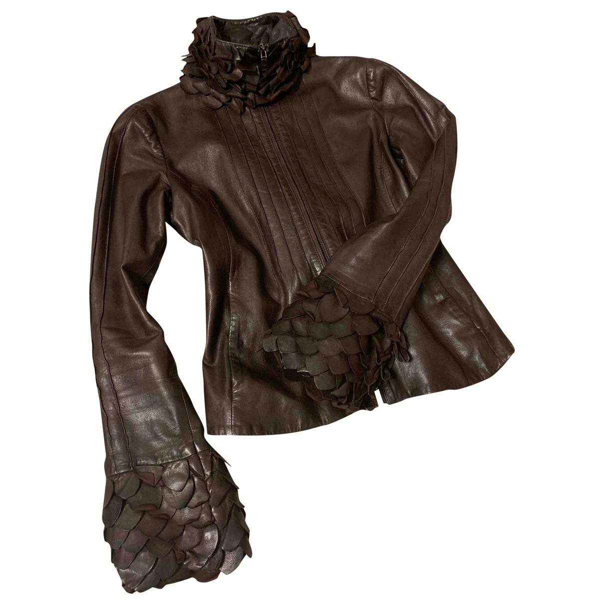 Emporio Armani - Veste   pour femme en cuir - marron