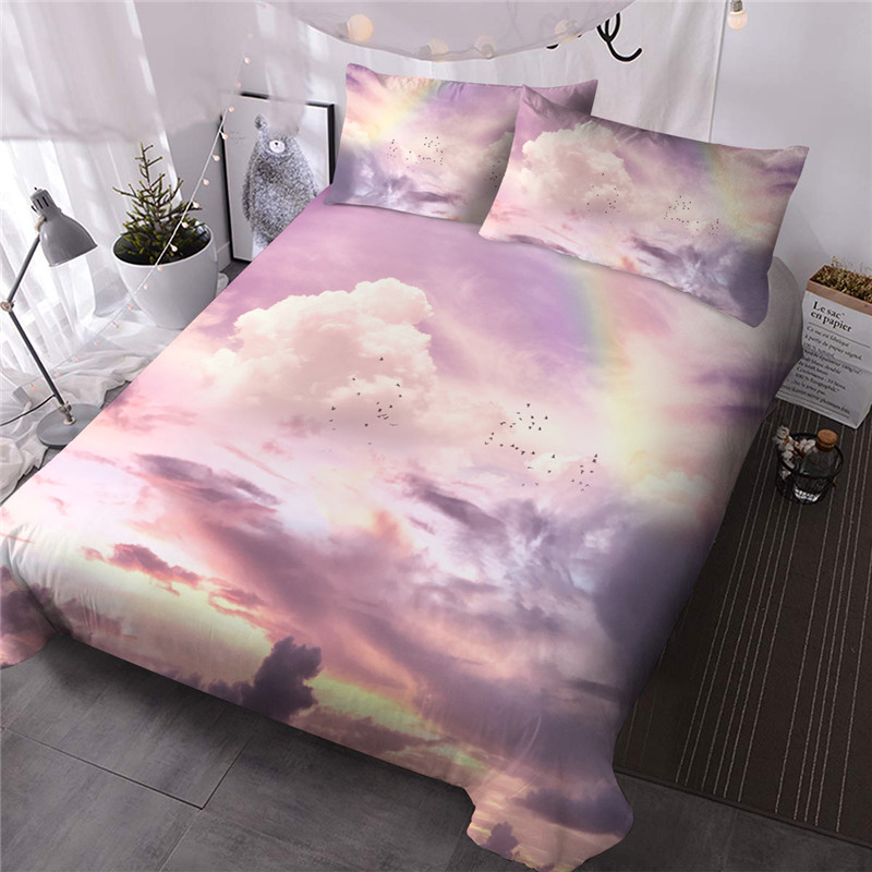Colorful Clouds Machine Wash Three-Piece Set Comforter Set Reactive Printing Polyester Bedding Sets Colorfast Wear-resistant