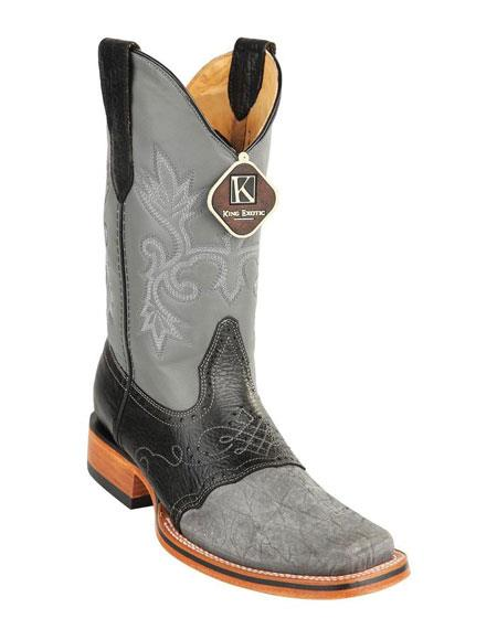 Mens King Exotic Square Toe Genuine Elephant Gray Boots Handcrafted