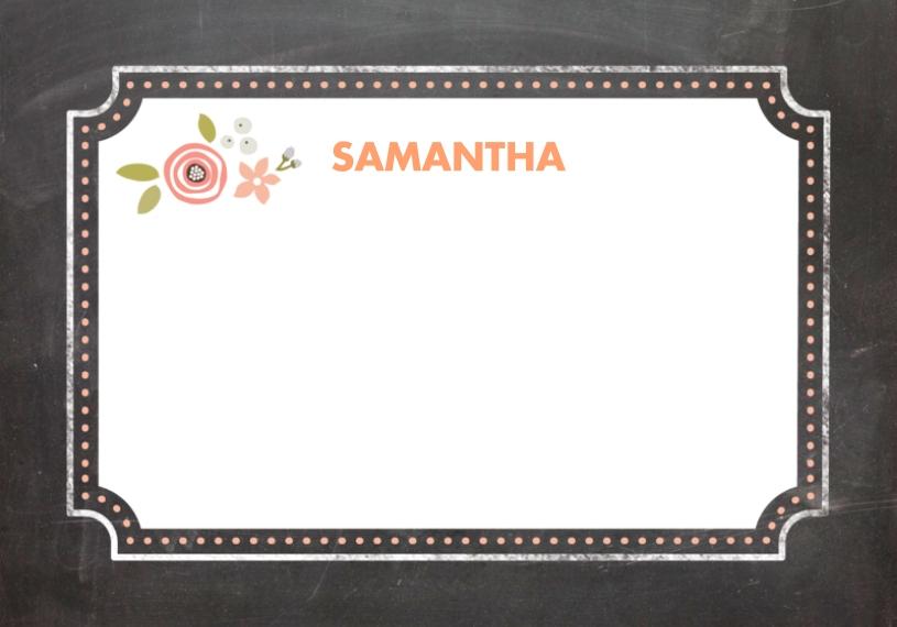 Baby & Kids 3.5x5 Flat Notecard, Card & Stationery -Chalkboard Border