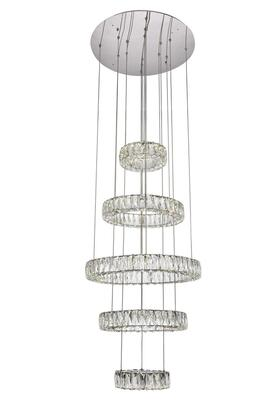 3503G5LC Monroe Integrated Led Chip Light Chrome Chandelier Clear Royal Cut