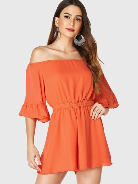 YOINS Orange Off Shoulder Elastic Waist Ruffle Sleeves Playsuit
