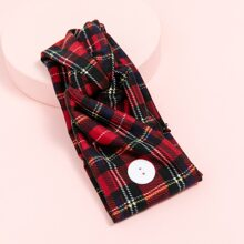 Button Detail Plaid Headband