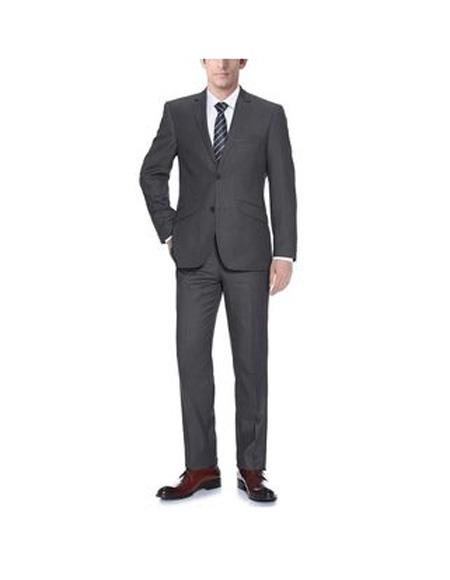 Mens Two Buttons notch lapels Polyester Classic fit Suit In Dark Grey