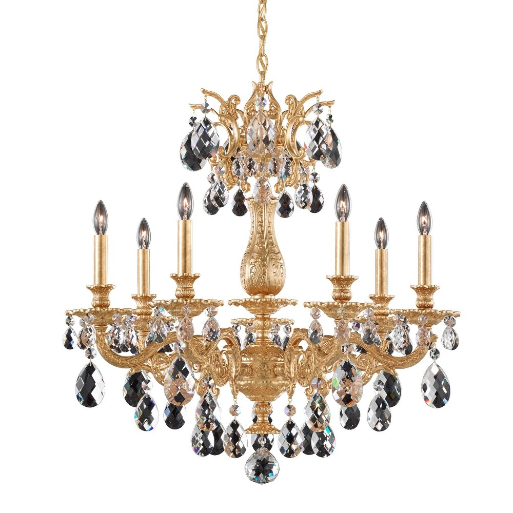 Milano 7 Light Chandelier French Gold Clear Optic Crystal - One Size (One Size - Clear)