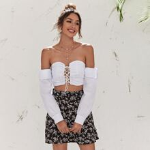 Lace Up Knot Ruched Crop Top
