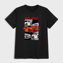 Men Car And Letter Graphic Tee
