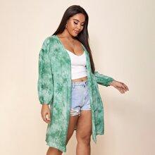 Plus Tie Dye Drop Shoulder Kimono