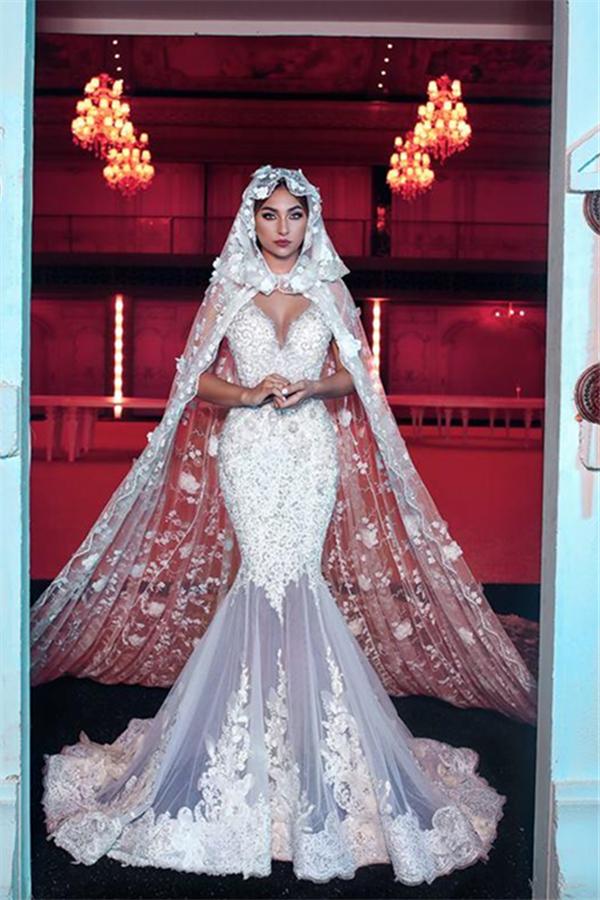 Robe de mariee longue sexy a col en V avec longue traine transparente