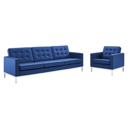 Loft Collection EEI-4104-SLV-NAV-SET Sofa and Armchair Set with Silver Stainless Steel Legs  Dense Foam Padded Cushion  Non-Marking Foot Caps and