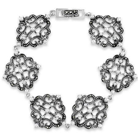 Sterling Silver 7 Inch Casted Link Bracelet featuring Swarovski Marcasite, One Size , No Color Family