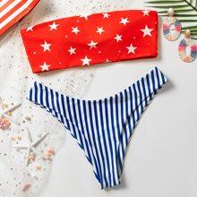Bañador bikini cortado alto de rayas con estrella