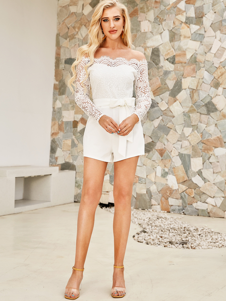 Yoins White Lace Off Shoulder Playsuits with Belt