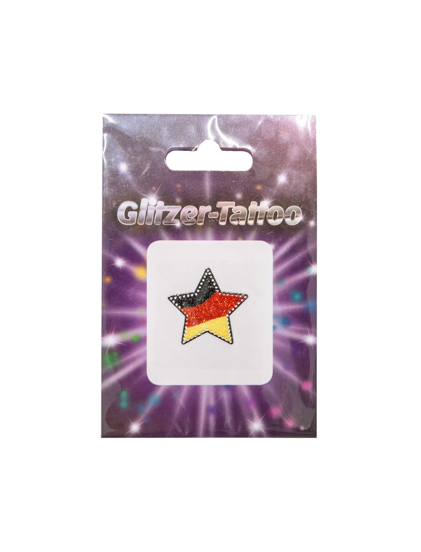 Glitzer-Tattoo Stern Deutschland mit Strass Farbe: schwarz/rot/gold