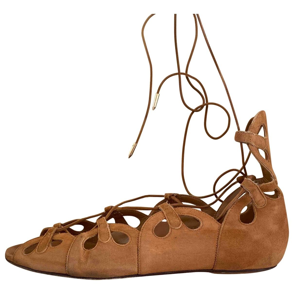 Aquazzura - Sandales   pour femme en suede - camel