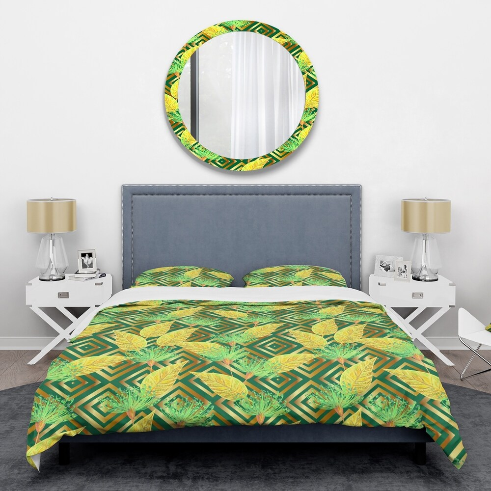 Designart Tropical Gold Luxury Pattern II Mid-Century Duvet Cover Set (Full/Queen Cover +2 Shams (comforter not included))