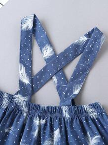 Baby Girl Ruffle Trim Ribbed Tee & Feather Print Suspender Skirt