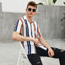 Guys Notch Collar Colorblock Striped Shirt