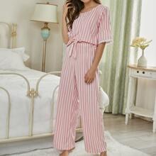 Conjunto de pijama de rayas ribete con encaje