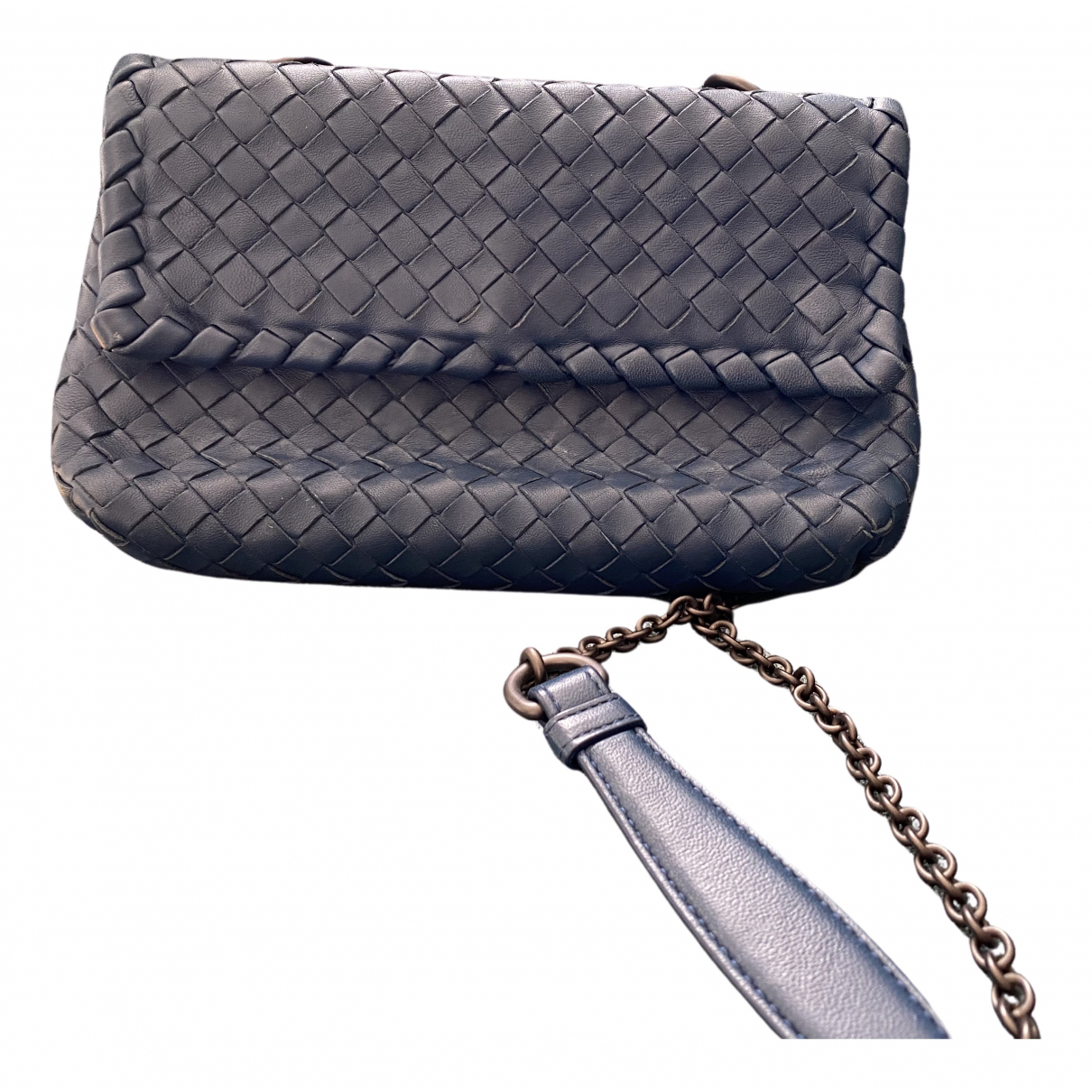 Bottega Veneta - Pochette Olimpia pour femme en cuir - bleu