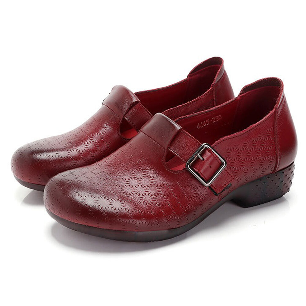 Women Casual Soft Breathable Hollow Buckle Genuine Leather Shoes