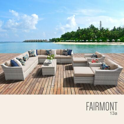 FAIRMONT-13a-WHEAT Fairmont 13 Piece Outdoor Wicker Patio Furniture Set 13a with 2 Covers: Beige and