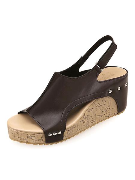 Milanoo Women\'s Sandals Comfy Slingbacks Open Toe Wedge Heel Sandals