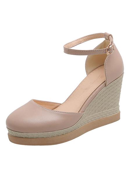 Milanoo Zapatos de cuña rosados Mujer Correa de tobillo con punta redonda Tallas grandes Alpargatas rosas
