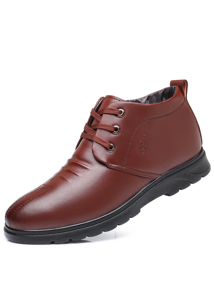 Men Comfy Microfiber Leather Warm Plush Lining Lace-up Business Casual Ankle Boots