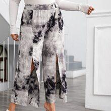 Hose mit Batik, Papiertasche Taille und Schlitz