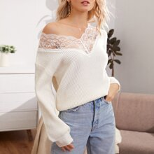 Contrast Lace Rib-knit Sweater