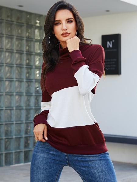 YOINS Color Block Patchwork Long Sleeves Sweatshirt