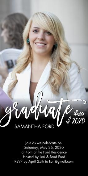 2020 Graduation Invitations 4x8 Flat Card Set, 85lb, Card & Stationery -Graduate Handlettered 2020 by Tumbalina