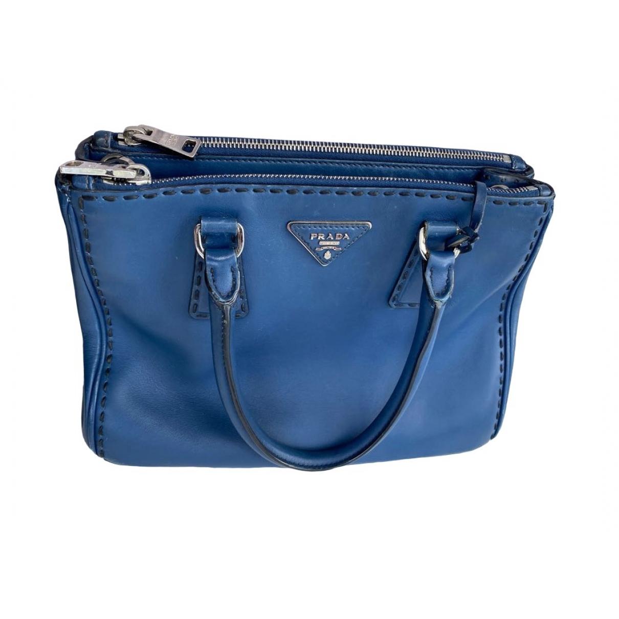 Prada - Sac a main Galleria pour femme en cuir - bleu