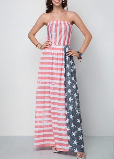 4Th Of July Women'S Multi Color American Flag Printed Strapless Tent Maxi Dress Patriotic Star And Stripe Printed Casual Dress By Rosewe - M
