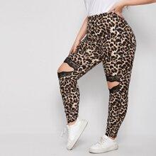 Leggings mit Leopard Muster, Kontrast Spitze und Ausschnitt