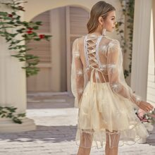 Plunging Neck Lace Up Back Embroidery Mesh Dress