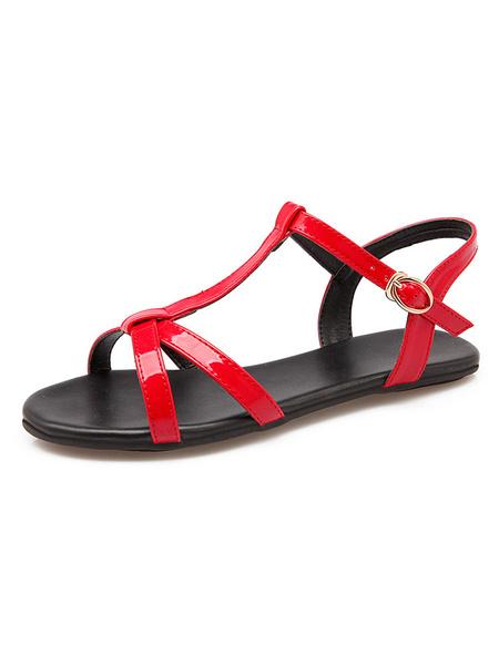 Milanoo Sandalias Plataforma Sin Tacones De Color Rojo De Mujer De Punta Abierta Sandarias De Estilo T Detalles De Hebilla