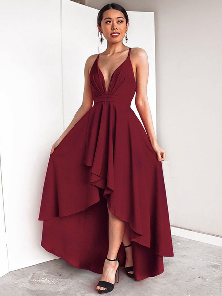 Milanoo Sexy Long Dress Women Sleeveless Plunging Neck Backless High Low Burgundy Maxi Dress