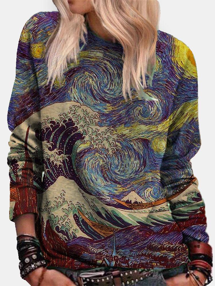 Landscape Printed Long Sleeve O-neck Sweatshirt For Women
